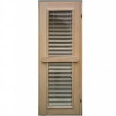 Двери деревянные со стеклом и жалюзи для бани