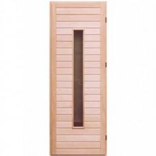 Деревянная дверь для бани с узким стеклом