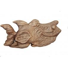 Деревянное интерьерное панно Рыба №4, 280х160 мм.)