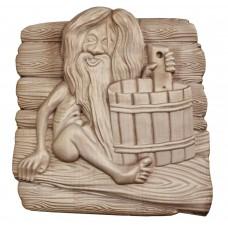 """Деревянное панно для сауны """"Банник"""" 28х26,7 см."""