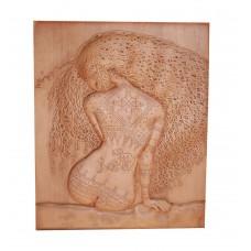 """Деревянное, резное панно """"Девушка с татуировков"""" 60х80 см."""