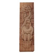 """Деревянное панно для сауны """"Пара в бане"""" 22х72 см."""